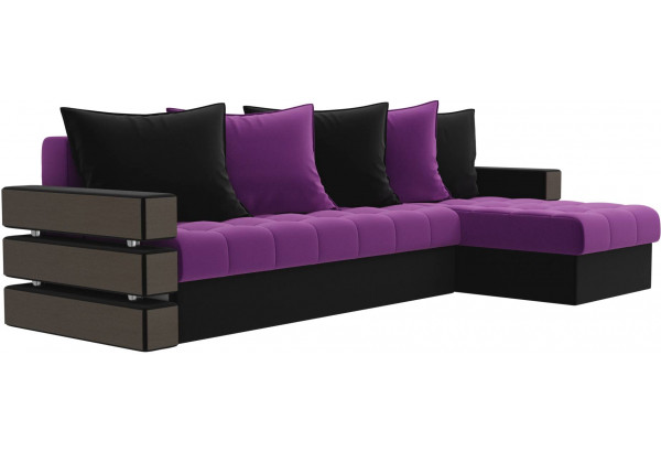 Угловой диван Венеция Фиолетовый/Черный (Микровельвет) - фото 3