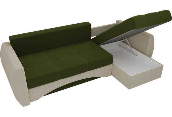 Угловой диван Сатурн Зеленый/Бежевый (Микровельвет) - фото 5