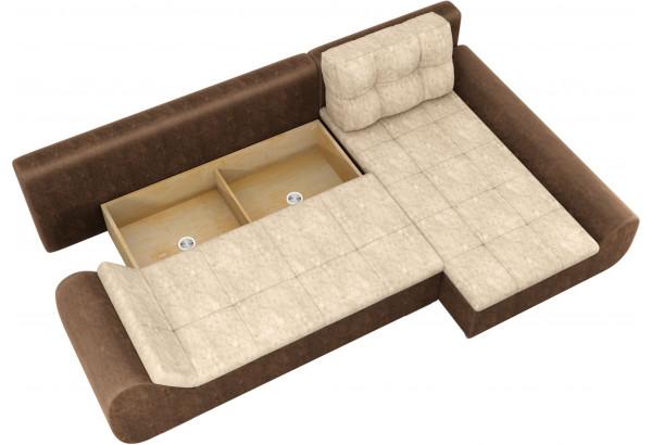 Угловой диван Анталина бежевый/коричневый (Велюр) - фото 7