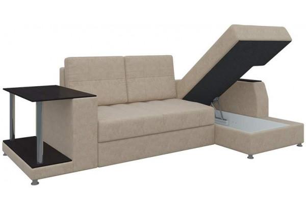 Угловой диван Атланта Бежевый (Микровельвет) - фото 2