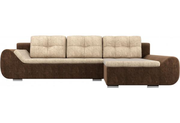 Угловой диван Анталина бежевый/коричневый (Велюр) - фото 2