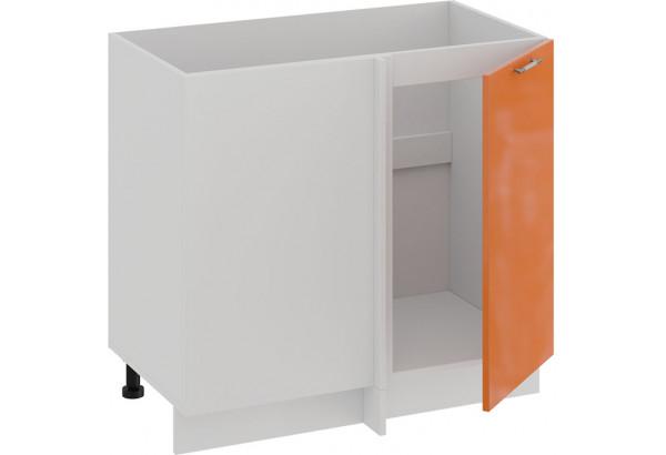 Шкаф напольный угловой «Весна» (Белый/Оранж глянец) - фото 2
