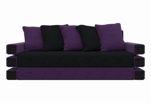 Диван прямой Венеция черный/фиолетовый (Микровельвет) - фото 2