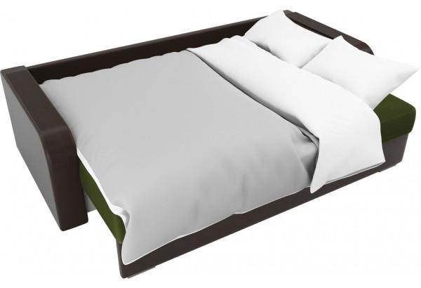 Прямой диван Мейсон зеленый/коричневый (Микровельвет/Экокожа/флок на рогожке) - фото 7