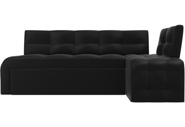 Кухонный угловой диван Люксор Черный (Экокожа) - фото 2