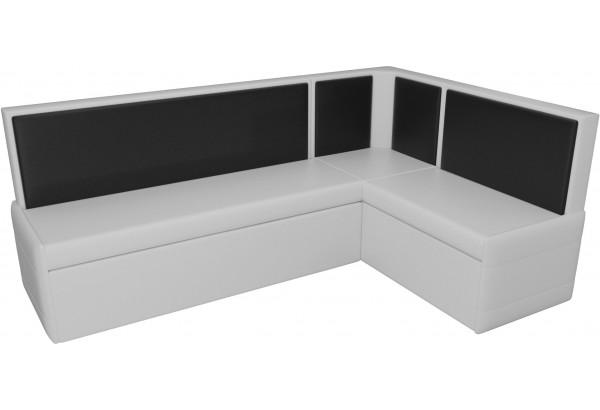 Кухонный угловой диван Кристина Белый/Черный (Экокожа) - фото 4