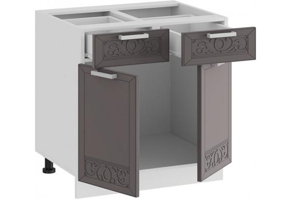 Шкаф напольный с двумя ящиками и двумя дверями «Долорес» (Белый/Муссон) - фото 2