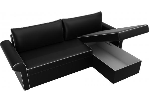 Угловой диван Милфорд Черный (Экокожа) - фото 5