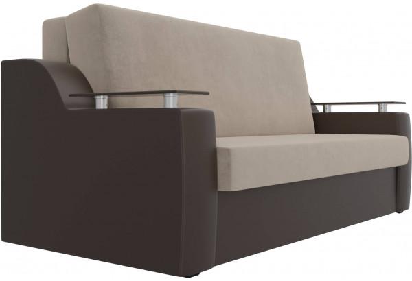 Прямой диван аккордеон Сенатор бежевый/коричневый (Велюр/Экокожа) - фото 3