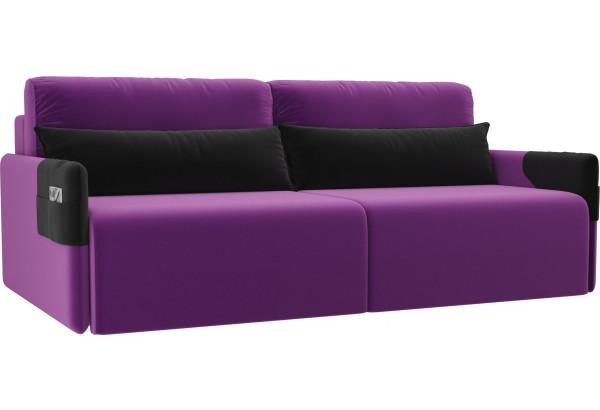 Прямой диван Армада Фиолетовый/Черный (Микровельвет) - фото 1