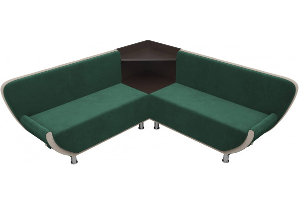 Кухонный угловой диван Лотос Зеленый/Бежевый (Велюр) - фото 3