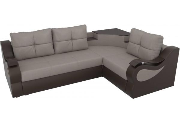 Угловой диван Митчелл бежевый/коричневый (Рогожка/Экокожа) - фото 4