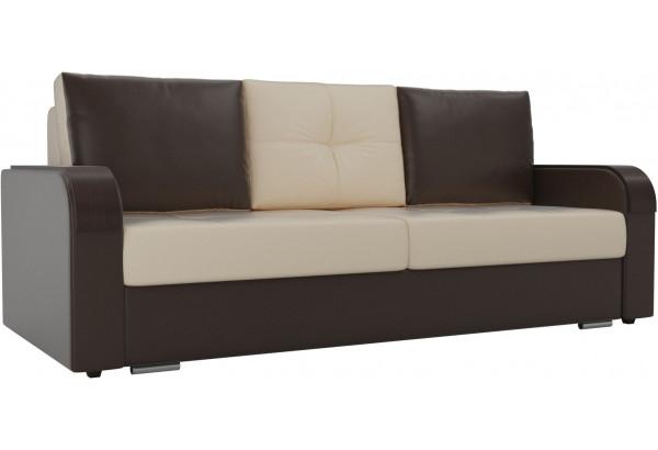Прямой диван Мейсон бежевый/коричневый (Экокожа) - фото 1