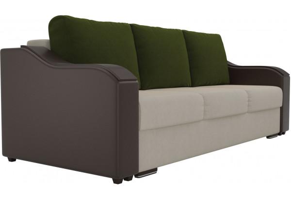 Прямой диван Монако бежевый/коричневый (Микровельвет/Экокожа) - фото 3
