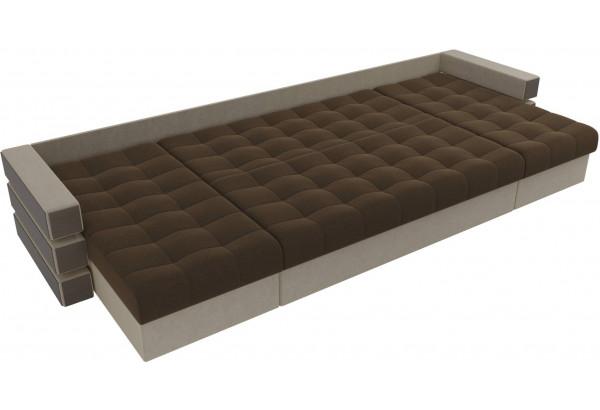 П-образный диван Венеция Коричневый/Бежевый (Микровельвет) - фото 7