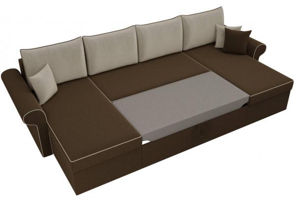 П-образный диван Милфорд Коричневый/Бежевый (Микровельвет) - фото 6