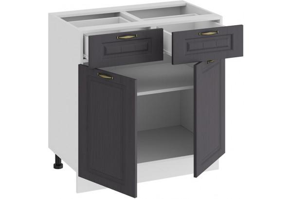 Шкаф напольный с двумя ящиками и двумя дверями «Лина» (Белый/Графит) - фото 2
