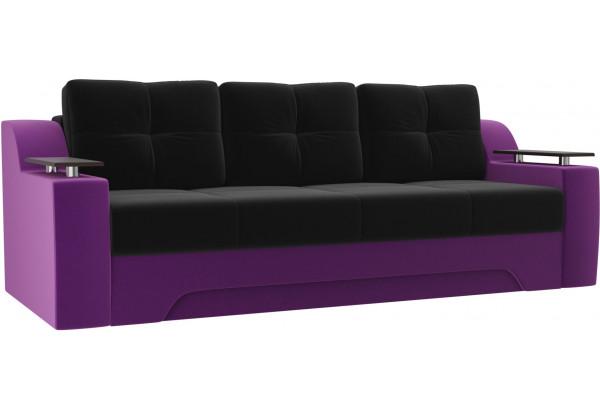 Диван прямой Сенатор черный/фиолетовый (Микровельвет) - фото 1