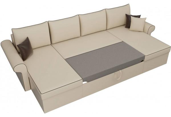 П-образный диван Милфорд Бежевый (Экокожа) - фото 6