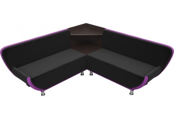 Кухонный угловой диван Лотос черный/фиолетовый (Микровельвет) - фото 4