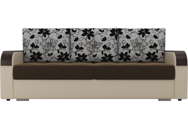 Прямой диван Мейсон Коричневый/Бежевый (Микровельвет/Экокожа/флок на рогожке) - фото 3