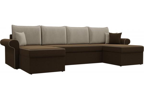 П-образный диван Милфорд Коричневый/Бежевый (Микровельвет) - фото 1