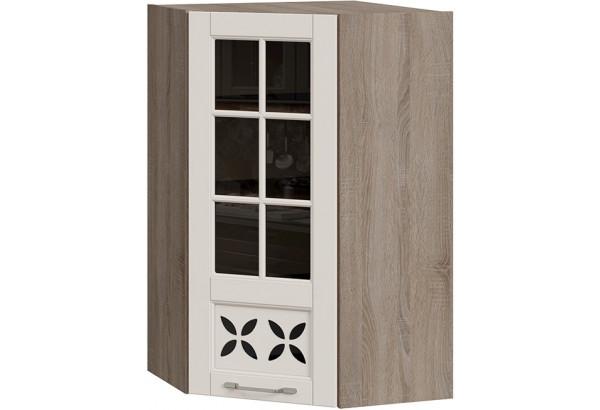 Шкаф навесной угловой c углом 45 со стеклом и декором (СКАЙ (Бежевый софт)) - фото 1