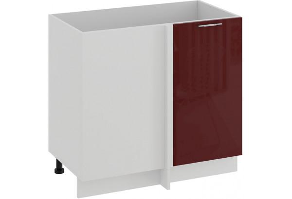 Шкаф напольный угловой «Весна» (Белый/Бордо глянец) - фото 1