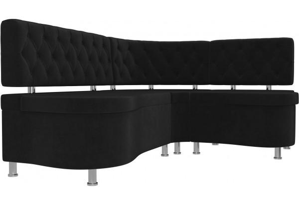 Кухонный угловой диван Вегас Черный (Велюр) - фото 3