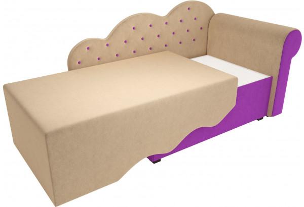 Детская кровать Тедди-1 бежевый/фиолетовый (Микровельвет) - фото 3