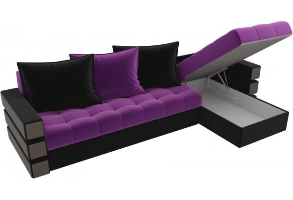 Угловой диван Венеция Фиолетовый/Черный (Микровельвет) - фото 5