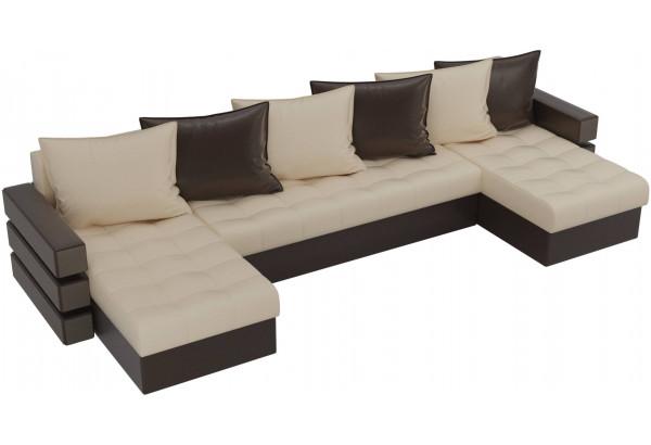 П-образный диван Венеция бежевый/коричневый (Экокожа) - фото 4