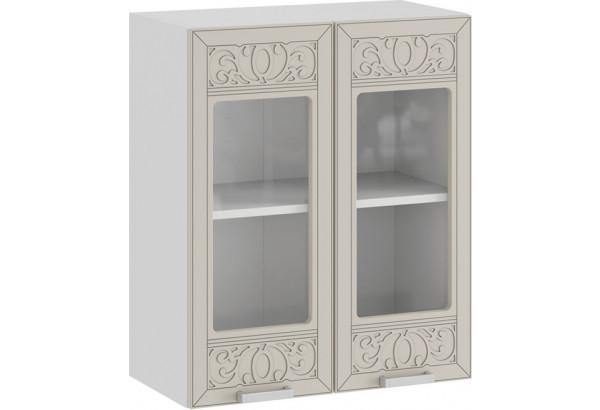 Шкаф навесной c двумя дверями со стеклом «Долорес» (Белый/Крем) - фото 1