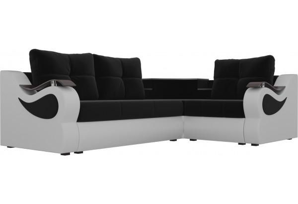 Угловой диван Митчелл Черный/Белый (Микровельвет/Экокожа) - фото 3