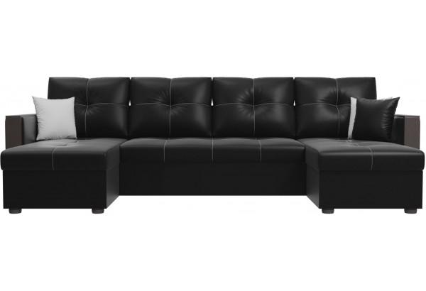 П-образный диван Валенсия Черный (Экокожа) - фото 2