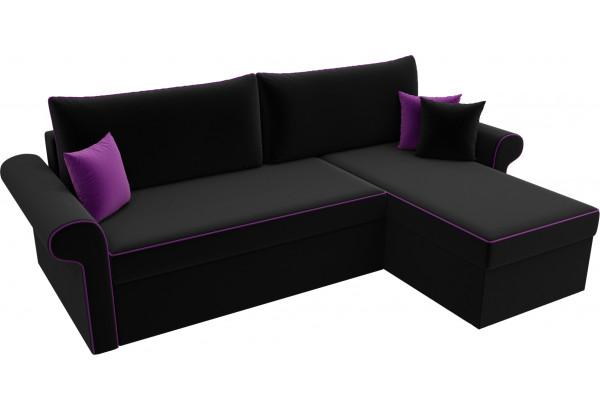 Угловой диван Милфорд Черный (Микровельвет) - фото 4