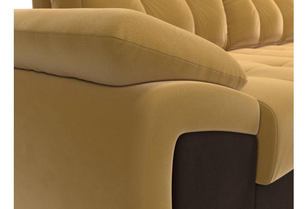 Угловой диван Нэстор прайм Желтый/коричневый (Микровельвет) - фото 4