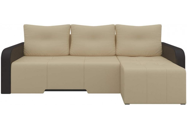 Угловой диван Манхеттен бежевый/коричневый (Экокожа) - фото 3
