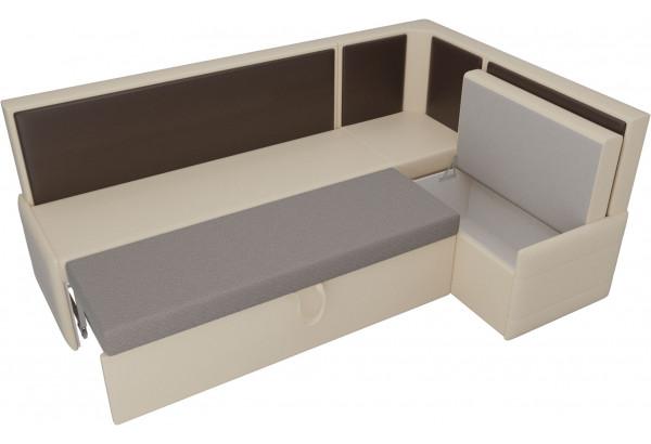 Кухонный угловой диван Кристина бежевый/коричневый (Экокожа) - фото 5