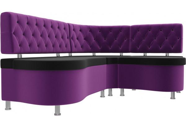 Кухонный угловой диван Вегас черный/фиолетовый (Микровельвет) - фото 3