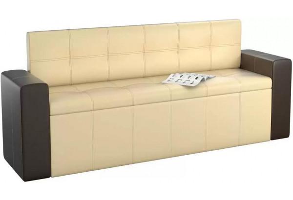 Кухонный прямой диван Династия бежевый/коричневый (Экокожа) - фото 1
