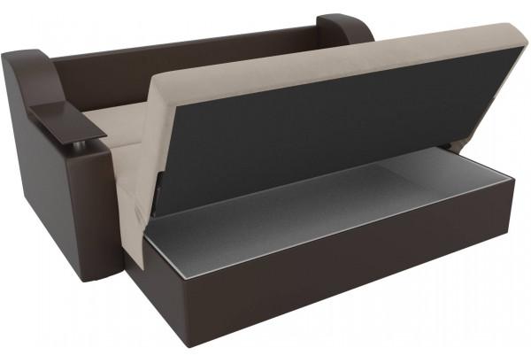 Прямой диван аккордеон Сенатор бежевый/коричневый (Велюр/Экокожа) - фото 6
