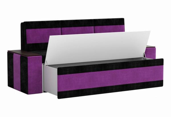 Кухонный прямой диван Лина черный/фиолетовый (Микровельвет) - фото 2
