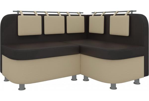 Кухонный угловой диван Уют 2 Коричневый/Бежевый (Экокожа) - фото 1