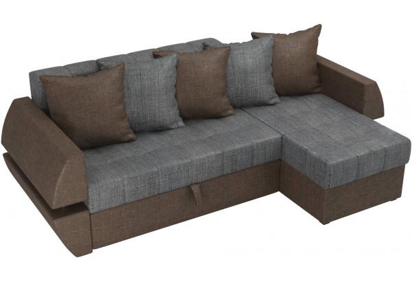 Угловой диван Атлантида У/Т Серый/коричневый (Рогожка) - фото 4