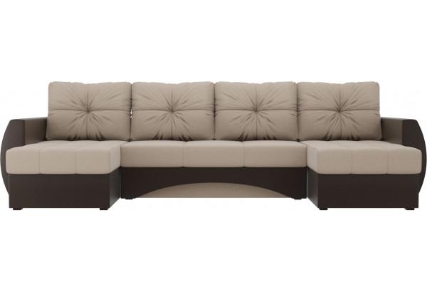 П-образный диван Сатурн бежевый/коричневый (Рогожка/Экокожа) - фото 2