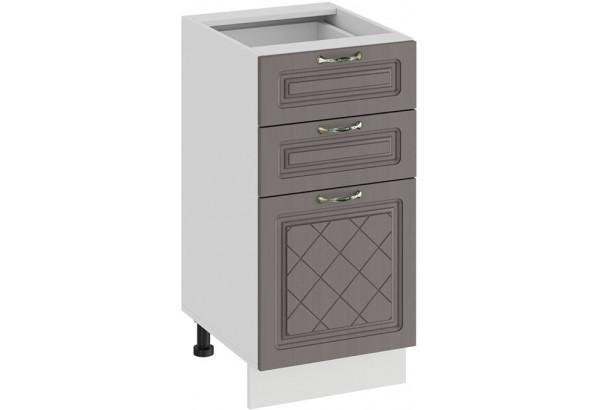 Шкаф напольный с тремя ящиками «Бьянка» (Белый/Дуб серый) - фото 1