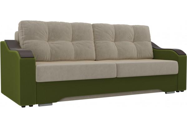 Прямой диван Браун бежевый/зеленый (Микровельвет) - фото 1