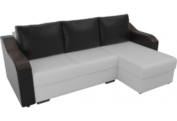 Угловой диван Монако Белый/Черный/Черный (Экокожа) - фото 4