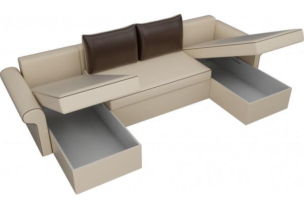 П-образный диван Милфорд бежевый/коричневый (Экокожа) - фото 5